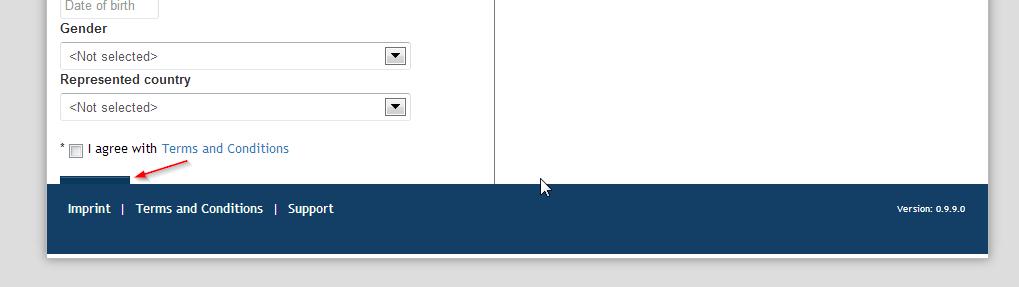 Schované tlačítko Register